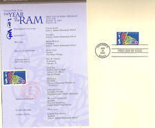 #3747 First Day Ceremony Program 37c Year of the Ram Stamp