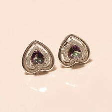 Natural Russian Mystic Topaz Earrings Studs 925 Sterling Silver Wedding Jewelry