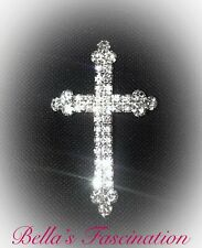 Crystal Rhinestone Cross Brooch Silver Setting Clear Pin Christian Jewelry Gift