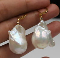 June Pearl 18x25 MM White Keshi Pearl 18KGF Earrings AAA