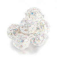 20 Sets Alloy Paved Rhinestone Magnetic Clasps Round AB-Colour Silver 21x14mm