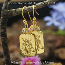 925k Sterling Silver Bee Coin Earrings 24k Gold Vermeil Handcrafted Jewelry Omer