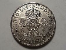 1943 HIGHER GRADE GREAT BRITAIN 2 SHILLING 50% SILVER MINTAGE 26,712,000!