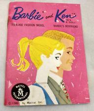 Vtg 1961 Barbie Ken Doll Teen-Age Fashion Model Booklet Mattel Girl Toy Japan