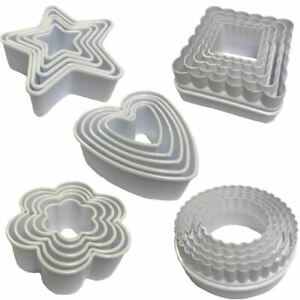 5pc Plastic Cookie Cutter Stencil Biscuit Pastry Baking Cake Food Shape Cutting