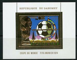 Benin Dahomey 1974 Munich Football FIFA Gold Foil Or Michel 587 bloc 37 A Perf