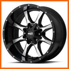 16x8 Moto Metal MO970 6,8 Lug 4 New Black/Mach Wheels Rims FREE Caps Lugs Stems