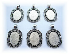 6 Antiqued Silvertone GEORGIAN Style 25mm x 18mm CAMEO PENDANTS Frames Settings