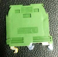 Box of 50 M6/8.P Screw Clamp Terminal Blocks - Ground - Green / Yellow NEW!