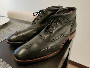 Cole Haan Mens Black Leather Kennedy Wing Tip Dress Boots Lace Up Size 10 Mint