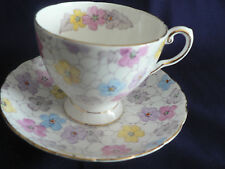 TUSCAN  BONE CHINA TEA CUP AND SAUCER PASTEL FLOWERS FOOTED CUP ABSTRACT LINES