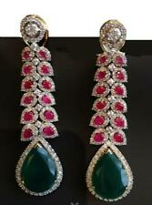 9Ct Pear Emerald Ruby Simulnt Diamond Chandelier Earrings Yellow Gold Fns Silver