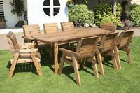 HGG Wooden Garden Table and 8 Chairs Dining Set - Outdoor Patio Solid Wood