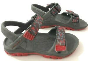 MERRELL ML-B Hydro Drift Boys 10 Sandals Grey Red