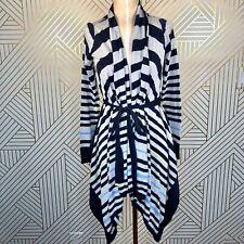 Anthropologie Moth Gray Blue Striped Draped Waterfall Sweater Cotton Size XS