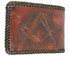 Vintage Masons Masonic Brown Tooled Leather Billfold Wallet