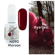 SYSTER 15ml Nail Art Soak Off Color UV Gel Polish UV Lamp N090 - Maroon