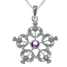 """Scottish Necklace - Silver Thistles Pendant with Amethyst and 18"""" silver Chain"""