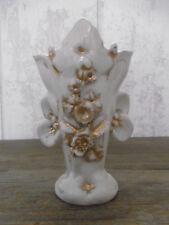 Joli Vase de Mariée ancien en porcelaine de Paris Blanc/Or Napoléon III église 4