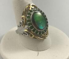 Solid Sterling Silver Yellow Green Cabochon Opal? Garnet Filigree Ring SZ 8.25