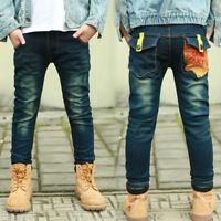 DIIMUU Boys Jeans Clothing Trousers Kids Boy Child Denim Pants Clothes Bottoms
