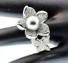 Butterfly Designer & Black Pearl & Diamonds 1.15ct Ring 14kw Gold size  6.5