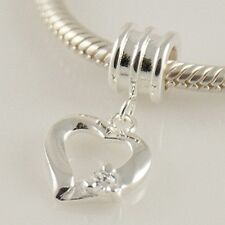 HEART w CZ-Love-Valentine-Solid 925 sterling silver European charm bead/ Pendant