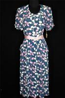 RARE VINTAGE DEADSTOCK LATE 1940'S BLUE, PINK & WHITE SILKY RAYON PRINT  SZ 6+