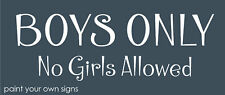 Treehouse Stencil Boys Only No Girls Allowed Bedroom Play Child Primitive Signs