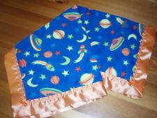 Baby bedding Handmade Lovely Moon/Stars fleece-Orange Satin Blanket Binding.
