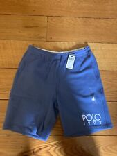 POLO RALPH LAUREN Men's Polo 1992 Logo Fleece Shorts NWT Retro Blue Mens M