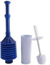 Toilet Brush with Can and Bellows Style Plunger Practical Bathroom Set