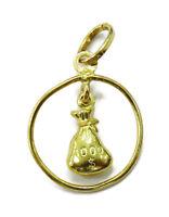 10k Yellow Gold Money Bag Charm Necklace Pendant ~ 0.5g
