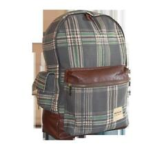 DUNLOP - VINTAGE RETRO TARTAN RUCKSACK/BACKPACK - GREEN/BROWN
