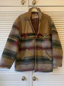 JCC Aztec Navajo Leather Blend Size L Vintage 80s Jacket Coat Festival Jet Co *