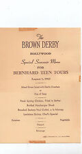 Vintage Brown Derby Souvenir Menu Bernhard Teen Tours Hollywood California 1962