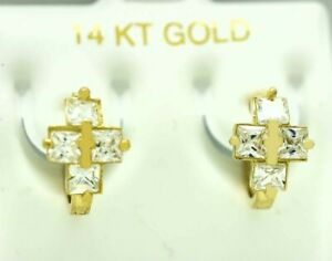WHITE SAPPHIRES CROSS HUGGIE EARRINGS 14K GOLD ** Free Shipping ** MADE IN USA