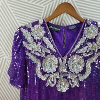 Vintage Size Medium Blouse Sequin Boho Floral Evening Party Purple Silver