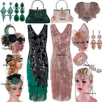 Vintage Costume 1920s Flapper Gatsby Wedding Party Layered Tassel Cocktail Dress