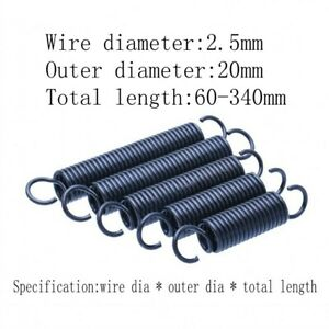 Extension spring with hook Wire dia 2.5mm Outer dia 20mm Total length 60mm~340mm
