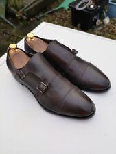 CORVARI Mens 100% Leather, Dark Grey Double Monk Strap Shoes UK 10 (44).