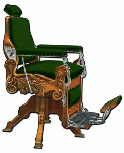 KOCHS BARBER CHAIR GREEN UPHOLSTERY HEAVY DUTY USA MADE METAL ADVERTISING SIGN