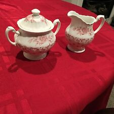 J & G Meakin Ironstone Chantilly ENGLAND RED PINK Sugar Bowl And Creamer