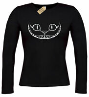 Womens Cheshire Cat Face alice in wonderland gift ladies top T-Shirt long sleeve