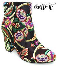 Stivaletti tronchetti scarpe donna con ricamo floreale stivali con fiori tacco 9