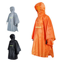 Multifunctional Cycling Raincoat Bicycle Reflective Strip Poncho with Hooded
