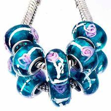 5pcs Navy blue Murano Glass Pink Flower Lampwork Beads Fit European Bracelets