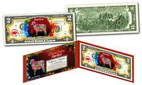 Chinese ZODIAC Genuine U.S. $2 Bill Red Polychrome Blast * YEAR of the SHEEP *