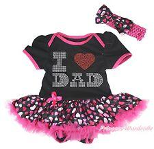 Father's Day Rhinestone I LOVE DAD Black Bodysuit Hearts Baby Dress Skirt NB-18M