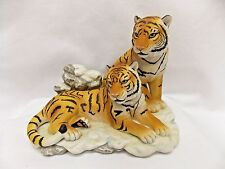 Siberian Tigers Figurine Made by Masterpiece Porcelain Homco #1996 Endangered